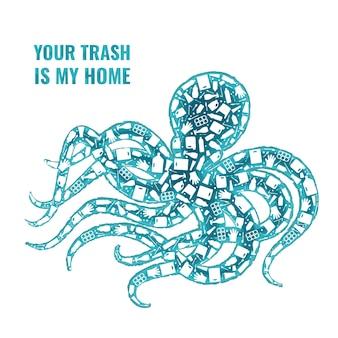 Fermare l'inquinamento di plastica dell'oceano concetto illustrazione vettoriale polpo mollusco marino contorno riempito con