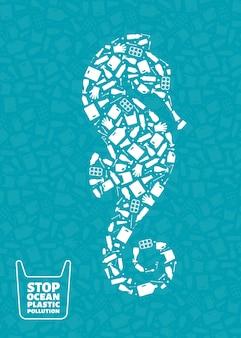 Arresti l'illustrazione di vettore di concetto di inquinamento di plastica dell'oceano cavalluccio marino animale marino silhouette riempita