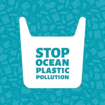 Arresti l'illustrazione di vettore di concetto di inquinamento di plastica dell'oceano. sacchetto di plastica monouso con segno