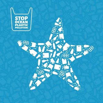 Arresti l'illustrazione di vettore del concetto di inquinamento di plastica dell'oceano la siluetta dell'animale marino delle stelle marine riempita Vettore Premium