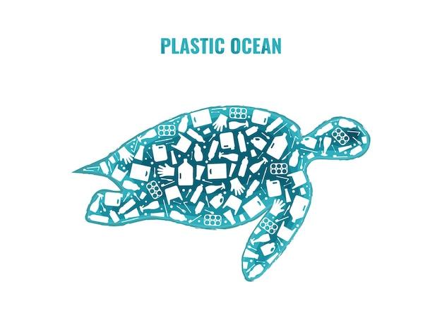 Arresti l'illustrazione di vettore di concetto di inquinamento di plastica dell'oceano. sagoma di rettile marino tartaruga