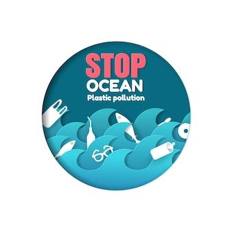 Fermare l'inquinamento da plastica dell'oceano con animali marini e icona di plastica nell'oceano, stile papercut.