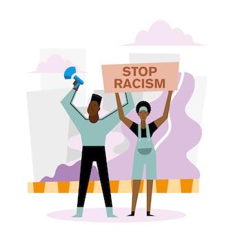 Fermare il razzismo nero vive materia banner megafono donna e uomo design del tema di protesta.