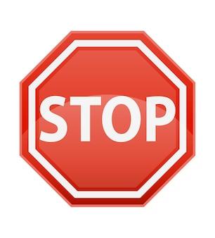 Stop cartello stradale per la regolamentazione del traffico su bianco traffic