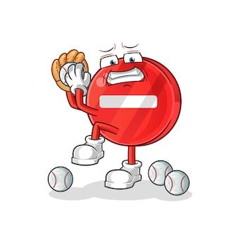 Segnale di stop lanciatore di baseball cartoon