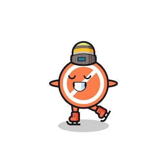 Segnale di stop del fumetto come un giocatore di pattinaggio sul ghiaccio che si esibisce, design in stile carino per t-shirt, adesivo, elemento logo