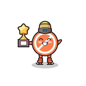 Il fumetto del segnale di stop come un giocatore di pattinaggio sul ghiaccio tiene il trofeo del vincitore, un design in stile carino per t-shirt, adesivo, elemento logo