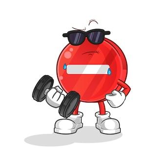 Segnale di stop sollevamento personaggio dei cartoni animati con manubri
