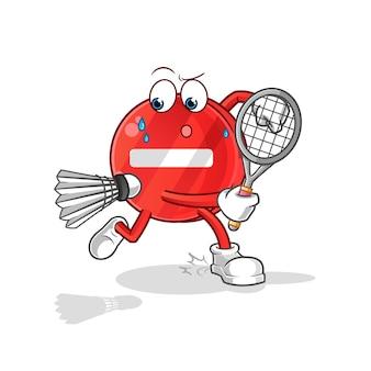 Segnale di stop giocando a badminton illustrazione
