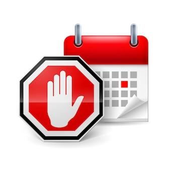 Segnale di stop con la mano e il calendario con il giorno segnato giorno di protesta