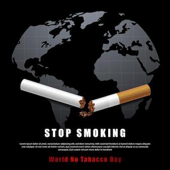 Smettere di fumare illustrazione della campagna nessuna sigaretta per la salute sigaretta rotta e mappa del mondo in sfondo nero