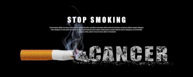 Smettere di fumare illustrazione della campagna nessuna sigaretta per il cancro alla salute lettere di ceneri fumanti in sfondo nero