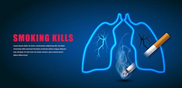 Smetti di fumare l'illustrazione della campagna nessuna sigaretta per il polmone della puntura di sigaretta sanitaria in sfondo blu scuro