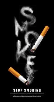 Smettere di fumare l'illustrazione della campagna nessuna sigaretta per la salute lettere di fumo di sigaretta in sfondo nero