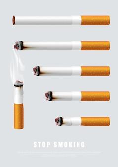 Smetti di fumare l'illustrazione della campagna nessuna sigaretta per le sigarette salutari di diversa lunghezza