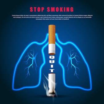 Smettere di fumare illustrazione della campagna nessuna sigaretta per la salute due sigarette e contorno del polmone in sfondo blu scuro
