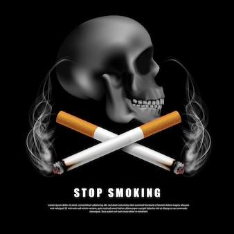 Smettere di fumare illustrazione della campagna nessuna sigaretta per la salute due sigarette e spaventoso teschio umano su sfondo nero in