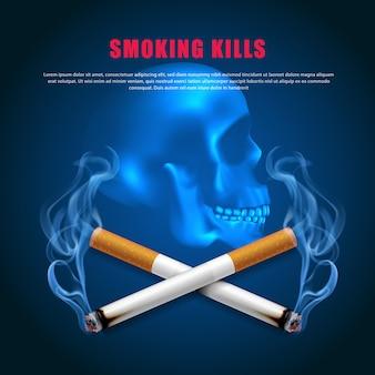 Smettere di fumare illustrazione della campagna nessuna sigaretta per la salute due sigarette spaventoso teschio sfondo blu scuro