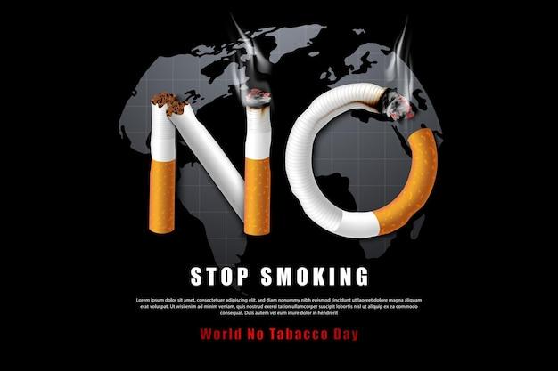 Smetti di fumare l'illustrazione della campagna senza sigaretta per la salute sullo sfondo nero della mappa del mondo