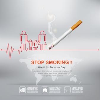 Smettere di fumare concetto per sfondo giornata mondiale senza tabacco.