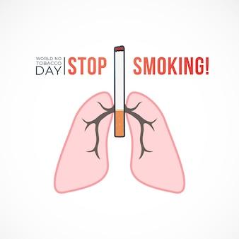 Smetti di fumare concetto con sigaretta e polmoni in stile piatto