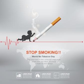 Smettere di fumare concetto giornata mondiale senza tabacco.