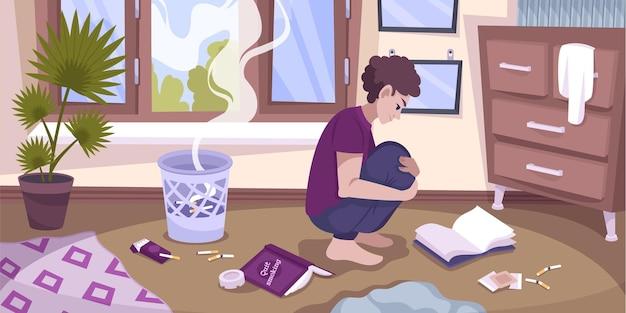 Smetti di fumare la composizione interna della stanza piatta con l'adolescente che fissa obiettivi che rompono le sigarette