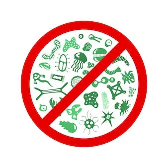 Arresti la diffusione del segno del virus i caratteri del germe dei cartoni animati hanno isolato l'illustrazione di env di vettore su fondo bianco
