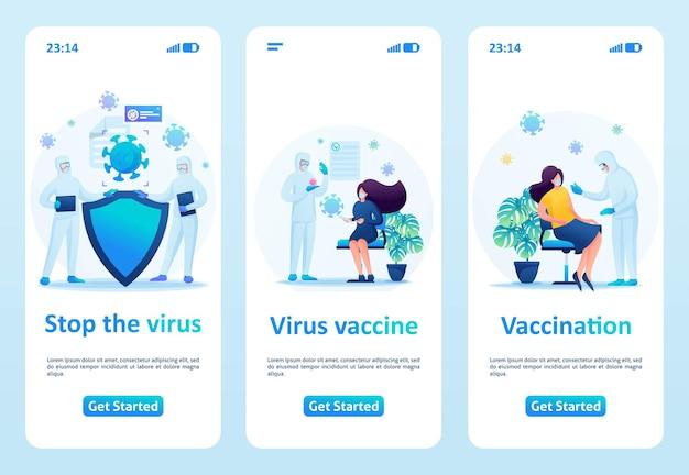 Fermare la diffusione del virus, la vaccinazione e la prevenzione. piatto 2d. app mobile di illustrazione vettoriale.