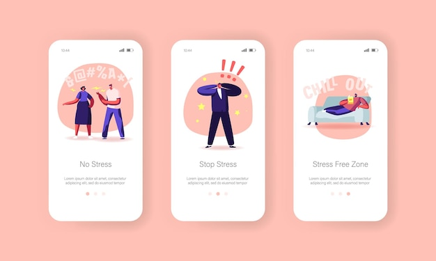 Stop stress mobile app page onboard screen template