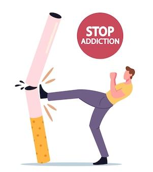 Smettere di abitudine malsana, concetto di dipendenza dal fumo