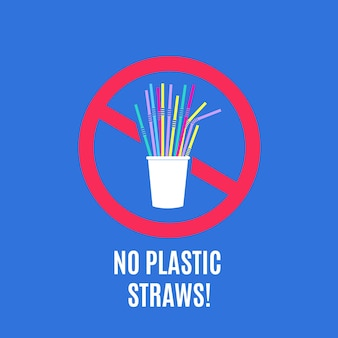 Smetti di usare cannucce di plastica. nessuna campagna di inquinamento da plastica e concetto di rifiuti di imballaggio con cannucce usa e getta.