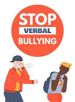 Stop al bullismo verbale poster o banner con personaggi di adolescenti della scuola
