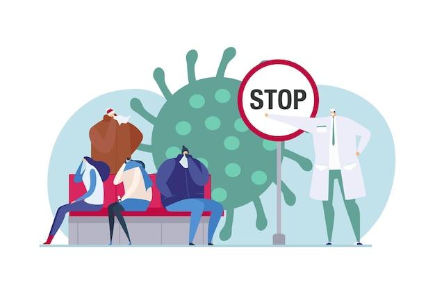 Fermare l'infezione da virus, illustrazione vettoriale. il dottore incoraggia il carattere delle persone malate a prevenire le malattie, la donna piatta si siede vicino a enormi batteri della malattia.