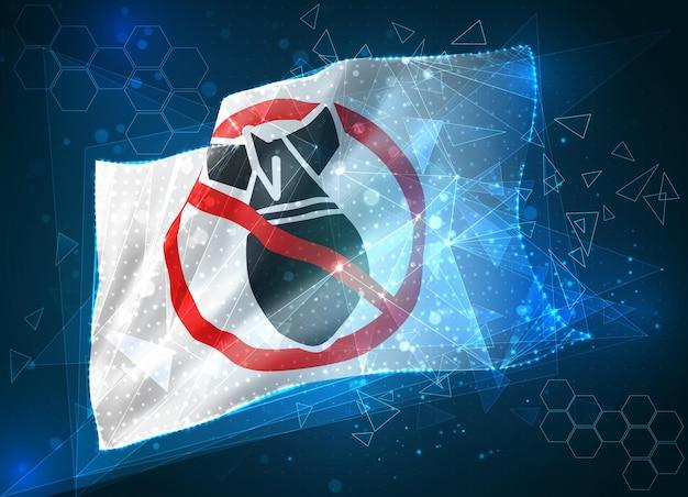 Ferma la bandiera del vettore di guerra, oggetto 3d astratto virtuale da poligoni triangolari su sfondo blu