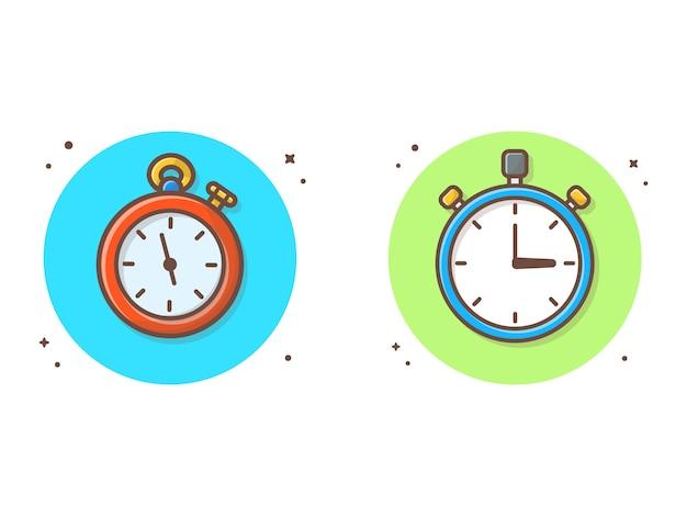 Illustrazione di clipart di vettore del cronometro. orologio, timer clipart concetto bianco isolato