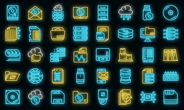 Icone di archiviazione impostate. contorno set di icone vettoriali di archiviazione colore neon su nero