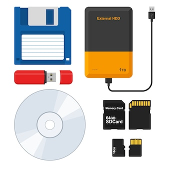 Supporto di memorizzazione floppy disk, hard disk esterno, flash drive usb memory stick, cd disk, micro sd