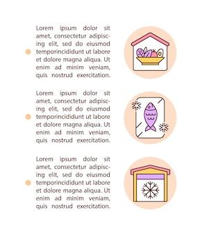 Icone della linea del concetto di spazio di conservazione e refrigerazione con testo