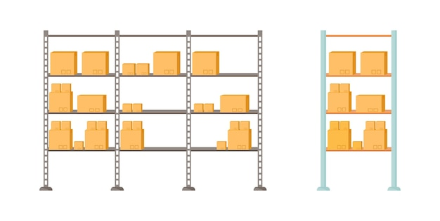 Set di oggetti di colore piatto ripiani di stoccaggio. confezioni caricate. negozio di pacchetti per la distribuzione. cartone per la consegna isolato illustrazione del fumetto per il web design grafico e raccolta di animazione