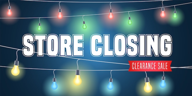 Illustrazione di chiusura del negozio, sfondo con ghirlande colorate