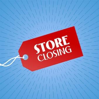Illustrazione di chiusura del negozio, sfondo con cartellino del prezzo di colore rosso