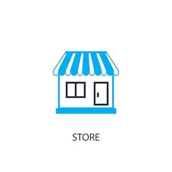 Icona del negozio. illustrazione dell'elemento logo. negozio simbolo design da 2 collezione colorata. semplice concetto di negozio. può essere utilizzato in web e mobile.
