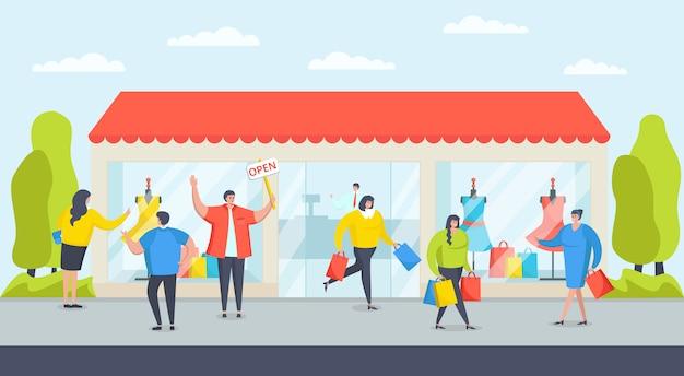 Negozio edificio negozio per cliente, illustrazione di affari moderni. vendita di abbigliamento boutique, concetto di mercato al dettaglio. il personaggio alla moda va per un evento di negozio aperto di moda, l'acquisto di un acquirente.