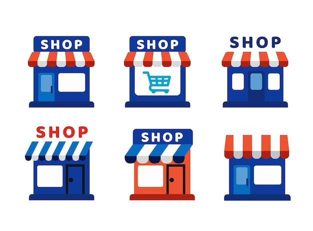 Segno del negozio. insieme del mercato del negozio.