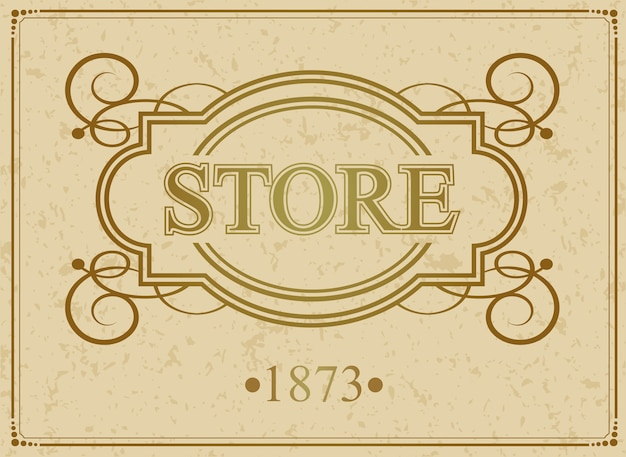 Store vintage lussuoso bordo calligrafico
