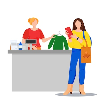 Negozio con il cliente che acquista un maglione e un cassiere illustrazione del concetto di acquisto donna che paga in contanti