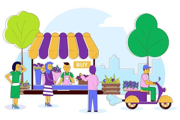 Negozio con fiori illustrazione vettoriale linea persone carattere acquistare bouquet in negozio design piatto pianta de...
