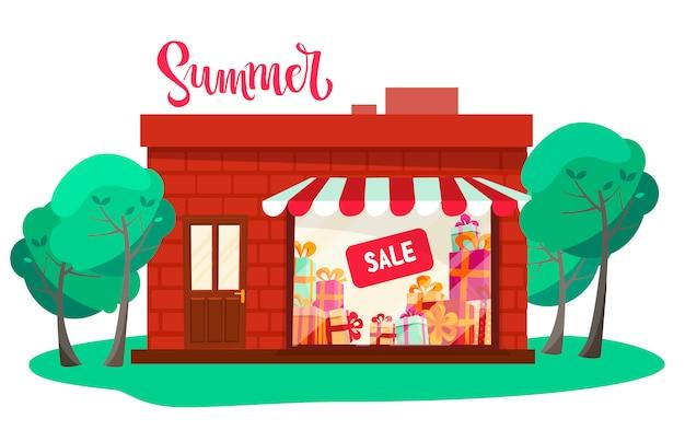 Vetrina del negozio, vista frontale della facciata di fronte a alberi verdi. illustrazione piana del fumetto di vista frontale del negozio isolata