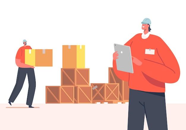 Concetto di distribuzione del magazzino. merci di contabilità del carattere del responsabile dell'inventario che si trovano in scatole di cartone in magazzino. assortimento di prodotti per ufficio postale, negozio o magazzino. cartoon persone illustrazione vettoriale